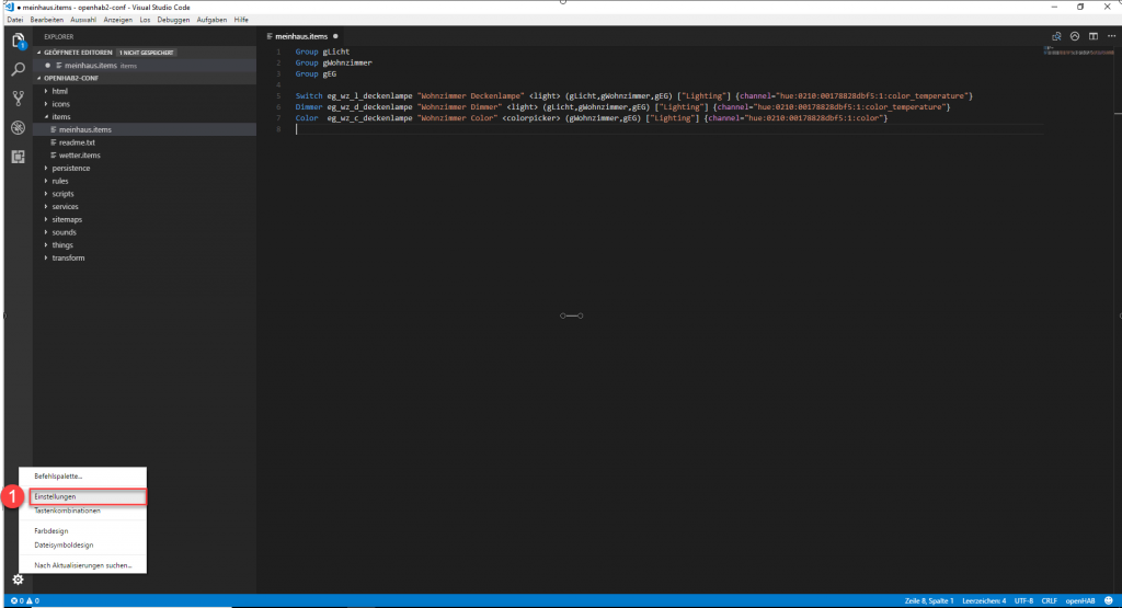 openHAB-Visual-Studio-Code-Hostname-1